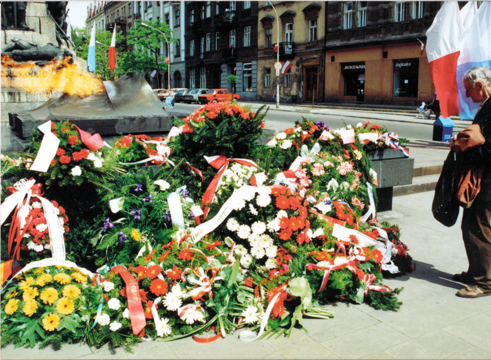 Flowers left at the Tomb of the Unknown Soldier, Krakow, Poland